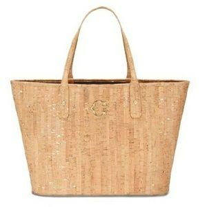 C. WONDER signature gold+cork tote logo beach bag